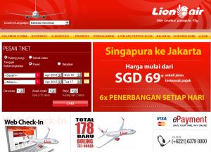 Halaman Pesan Tiket Lion Air