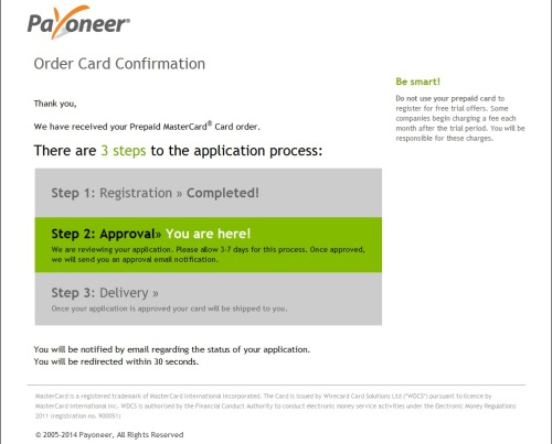 Langkah ke-6 Order Card Confirmation